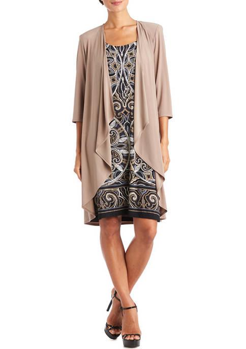 Womens 3/4 Sleeve Printed Jacket Dress