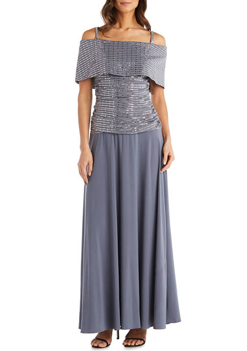 Cold Shoulder Banded Sequin Top with Stretch Long Skirt Dress