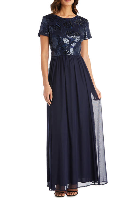 Short Sleeve Embellished Sequin Top with Long Mesh Lined Skirt Dress