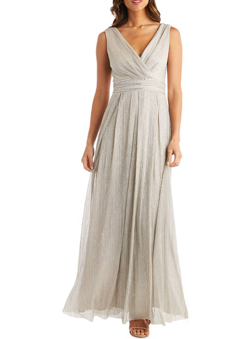 RM Richards Pleated Crinkle Long Grecian Dress with
