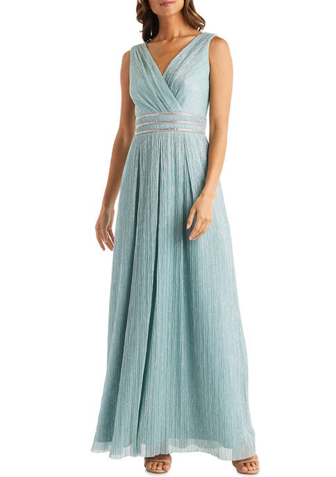 Pleated Crinkle Long Grecian Dress with Beaded Waist Detail