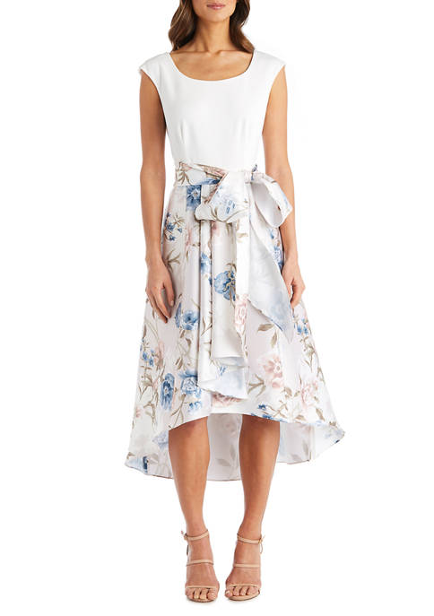 Petite High Low Floral Printed Mikado Dress With Solid Knit Cap Sleeve Bodice And Self Tie Sash