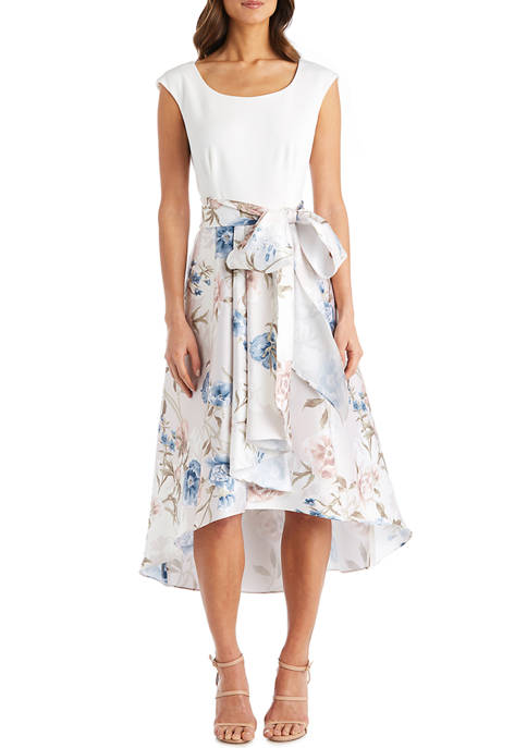 Cap Sleeve Solid Top Dress with Floral Hi Lo Full Skirt