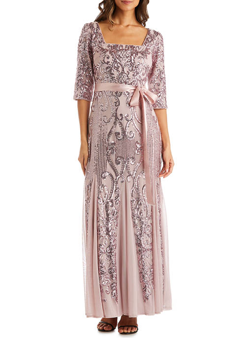 3/4 Sleeve Sequin and Chiffon Lace Gown