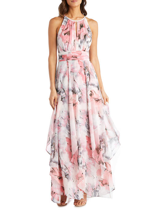 Petite Long Keyhole Halter Dress In Sheer Floral Printed Chiffon With Lurex Thread With Hankie Panelled Skirt