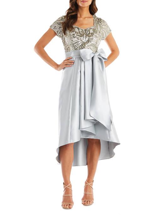 Short Sleeve Sequin Top Dress with Hi-lo Full Satin Skirt