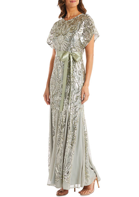 Scoop Neck Full Sequin Long Gown with Chiffon Inset Panels