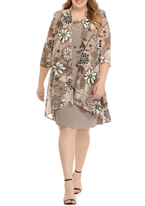 R & M Richards Plus Size Long Floral