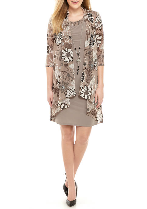 Womens 3/4 Sleeve Floral Jacket and Solid Shift Dress