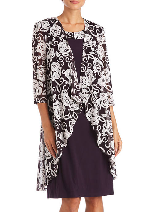2 Piece Floral Print Drape Jacket Solid Dress Set