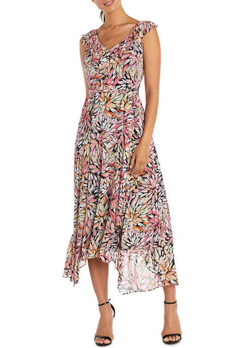 Womens Ruffle Front Power Mesh Scarf Panel Print Dress