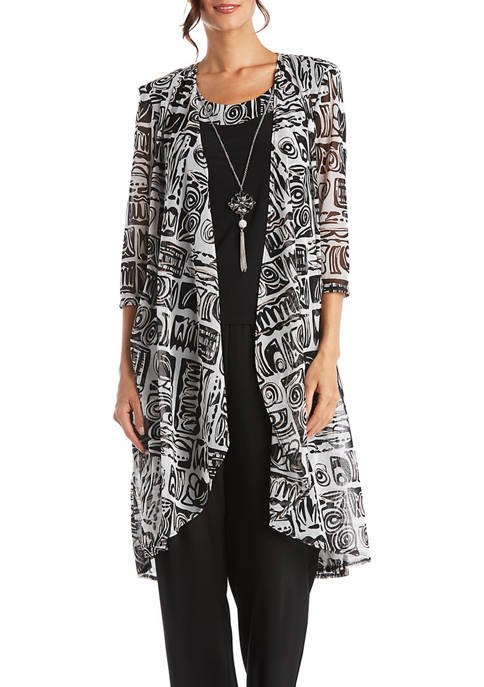 3 Piece Printed Mesh Duster