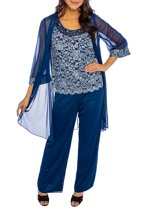 Womens 3-Piece Flyaway Duster Pant Suit