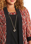 Plus Size 2 Piece Chevron Mesh Lining Jacket and Solid Dress Set