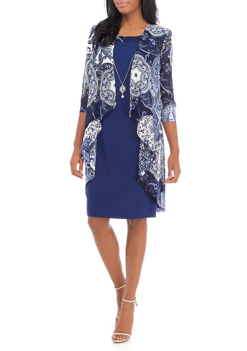 RM Richards Womens Solid Dress and Medallion Jacket