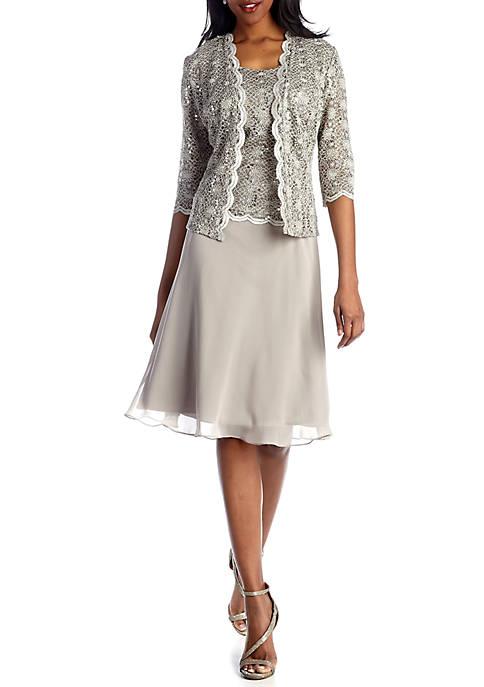 RM Richards 2 Piece Laced Long Jacket Dress