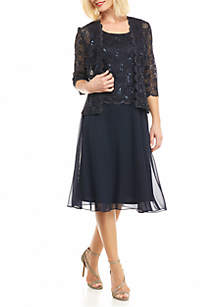 RM Richards 2 Piece Laced Long Jacket Dress Set