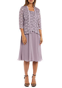 RM Richards 2 Piece Laced Long Jacket Dress Set