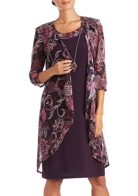 2 Piece Floral Mesh Solid Dress Set