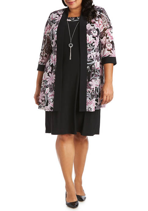 RM Richards Plus Size Floral Jacket Solid Dress