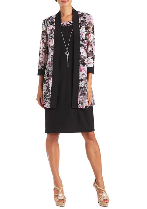 Womens Floral Jacket Solid Dress