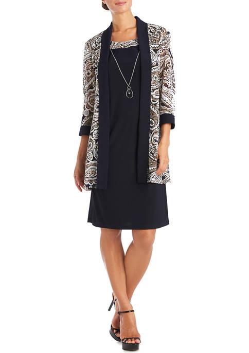 Womens Paisley Mesh Jacket and Dress Set