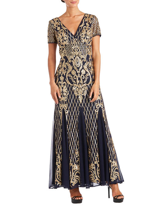 Womens Contrast Sequin Beaded Dress