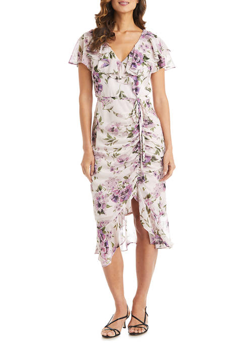 Womens Yoryu Chiffon Print Side Ruche Wrap Dress