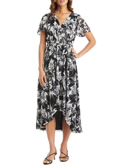 Womens Puff Print Power Mesh High Low Wrap Dress