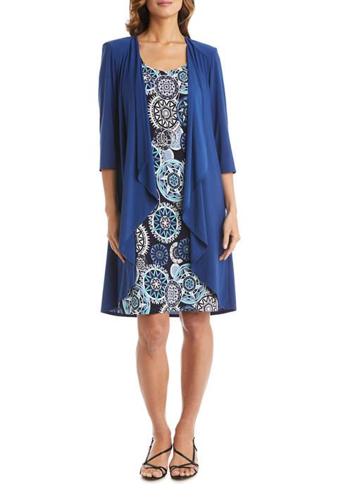R & M Richards Womens Sleeveless Print Dress