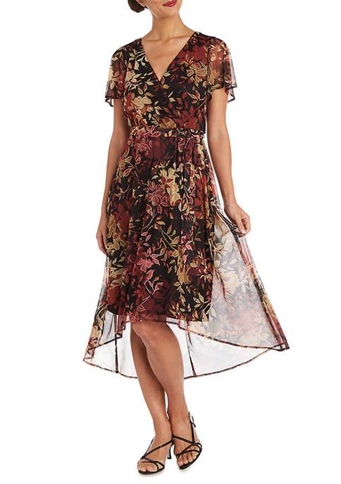 Womens Puff Power Mesh Print High Low Wrap Dress