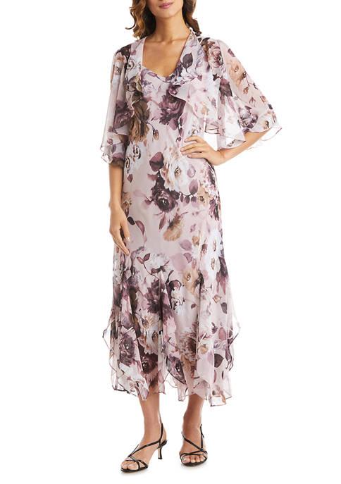 Womens 2-Piece Yoryu Chiffon Print with Lurex Fly Away Crop Jacket Dress