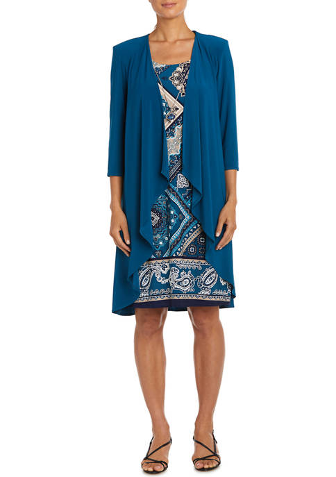 Womens Geometric Paisley Print Dress with Solid 3/4 Sleeve Jacket - 2 Piece Set