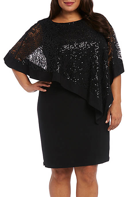RM Richards Plus Size Lace Poncho Dress