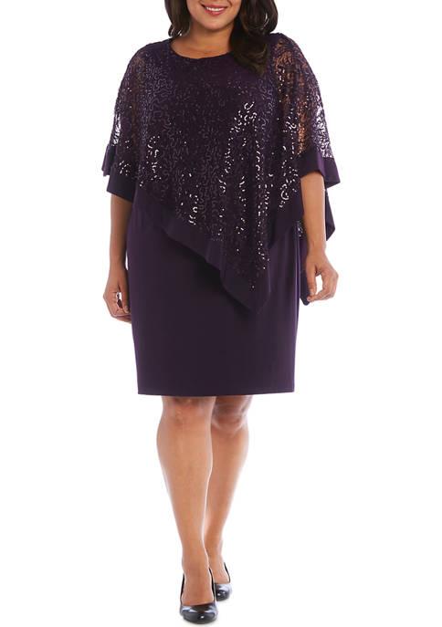 R & M Richards Plus Size Lace Poncho