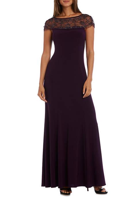R & M Richards Womens Lace Shoulder Dress