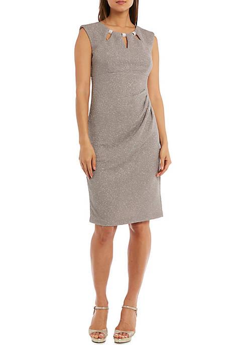 Sleeveless Triple Keyhole Neck Side Rouche Dress