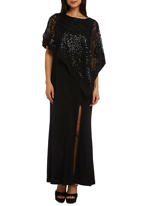 R & M Richards Lace Poncho Overlay Gown
