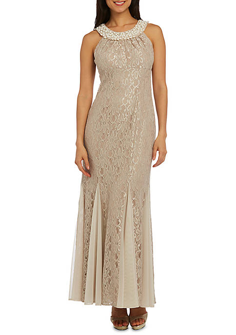 Womens Lace and Pearls Long Social Occasion Gown