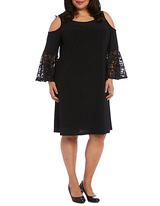Plus Size Short Cold Shoulder Dress with Lace Ruffle Sleeves