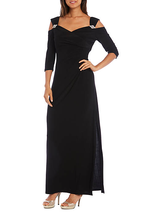 Womens Cold Shoulder Rhinestone Gown