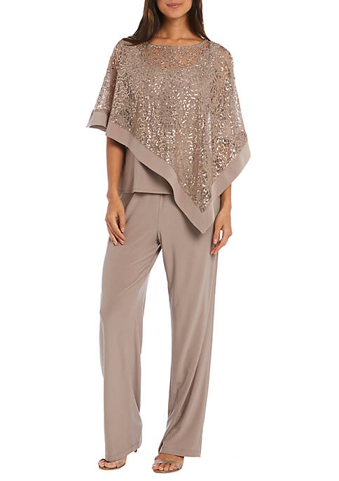 Womens 2 Piece Sequin Poncho and Pants Set