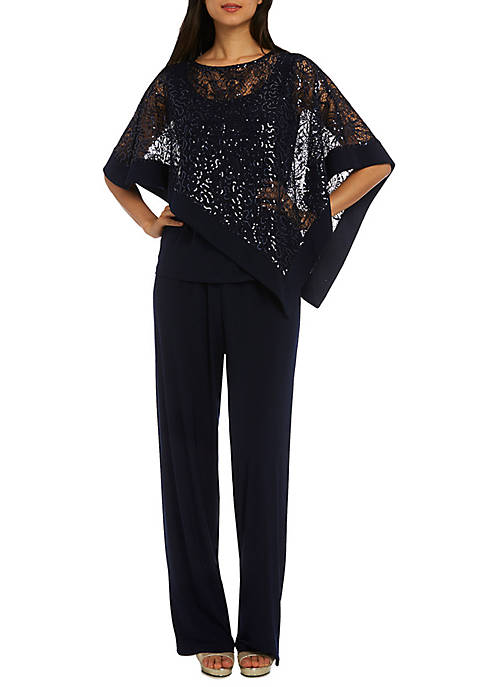 RM Richards Two Piece Sequin Poncho Pant Set