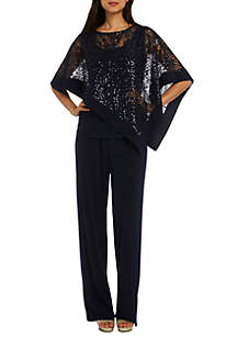 Two Piece Sequin Poncho Pant Set