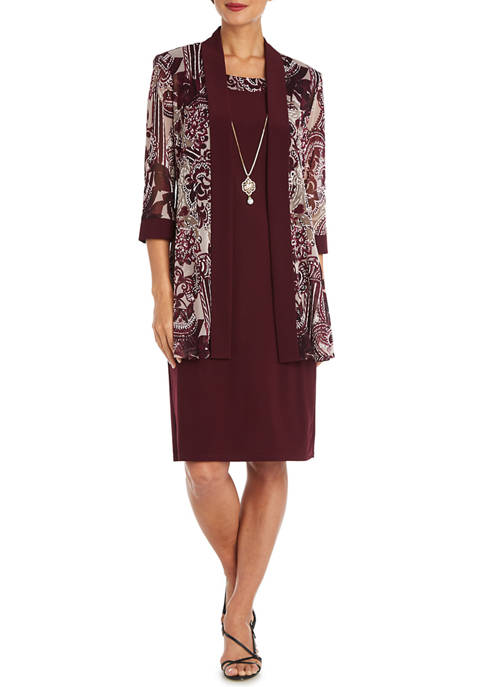 Womens Solid Sleeveless Dress with 3/4 Sleeve Puff Shoulder Print Jacket - 2 Piece Set
