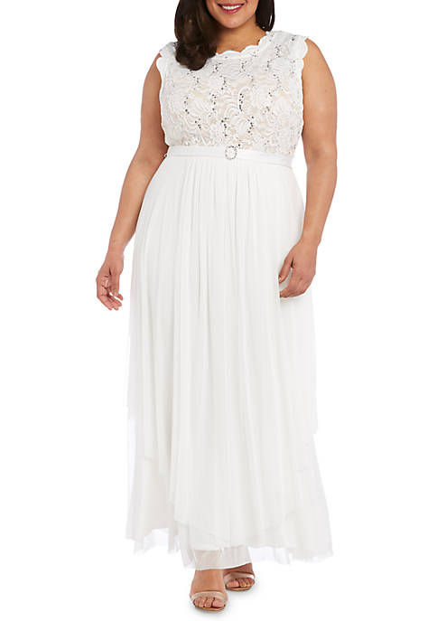 Plus Size Lace Bodice Belted Gown