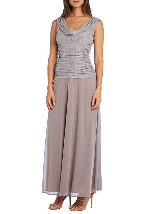 Womens Long Ruched Sparkle Dress