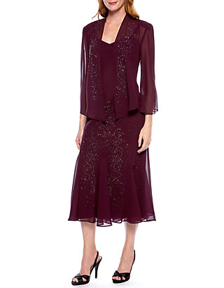 863b3fc1a07 RM Richards Sheer Beaded Jacket Dress ...