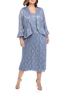 7378b59b67da ... RM Richards Plus Size 2 Piece 3/4 Sleeve Beaded Jacket and Dress Set