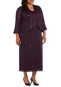f362cdcbb4b ... RM Richards Plus Size 2 Piece 3 4 Sleeve Beaded Jacket and Dress Set